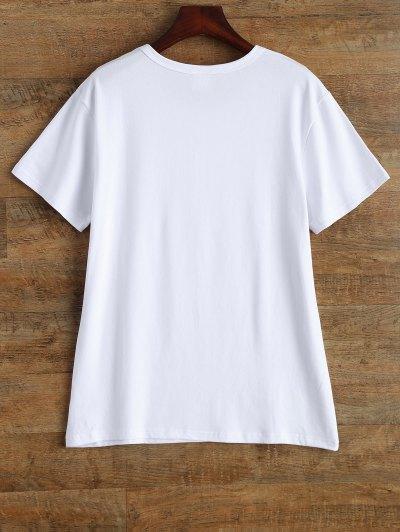 Jewel Neck Alien T-Shirt - WHITE L Mobile