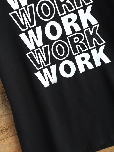 Jewel Neck Work Graphic T-Shirt - BLACK M Mobile