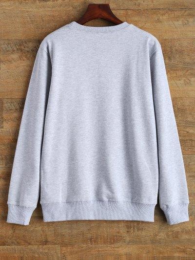 Crew Neck Graphic Streetwear Sweatshirt - GRAY L Mobile