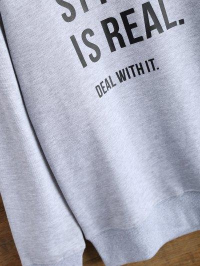 Crew Neck Graphic Streetwear Sweatshirt - GRAY M Mobile