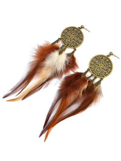 Hollow Out Feather Tassel Earrings - ANTIQUE BROWN  Mobile