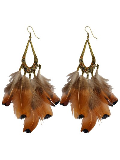 Water Drop Feather Tassel Earrings - ANTIQUE BROWN  Mobile