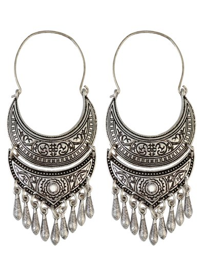 Crescent Tear Drop Earrings - SILVER  Mobile