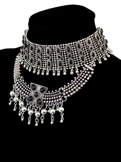 Faux Gem Beads Tassel Necklace - SILVER  Mobile
