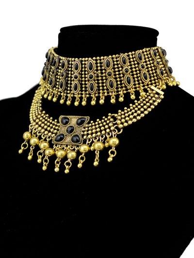 Faux Gem Beads Tassel Necklace - GOLDEN  Mobile