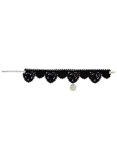 Lace Floral Pendant Choker - BLACK  Mobile