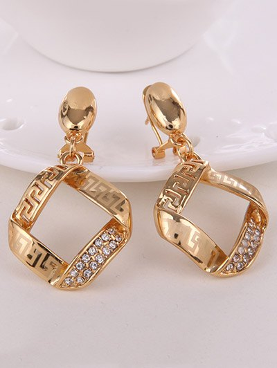 Square Rhinestone Hollow Out Jewelry Set - GOLDEN  Mobile