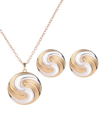 Round Hollow Out Jewelry Set - GOLDEN  Mobile