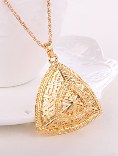 Hollow Out Triangle Jewelry Set - GOLDEN  Mobile