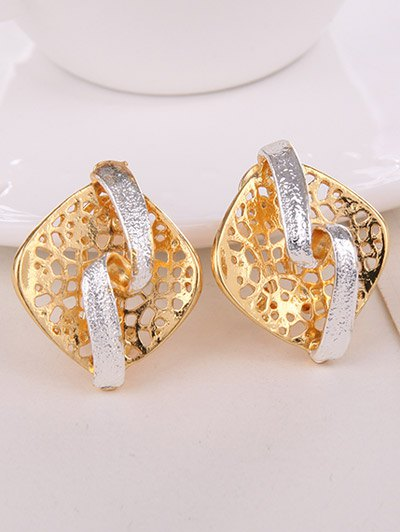 Rhombus Hollow Out Jewelry Set - GOLDEN  Mobile