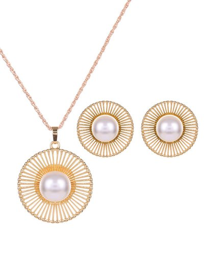 Round Beads Faux Pearl Jewelry Set - GOLDEN  Mobile