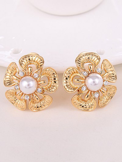 Floral Rhinestone Faux Pearl Jewelry Set - GOLDEN  Mobile