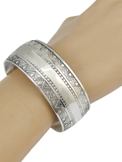 Ethnic Triangle Alloy Cuff Bracelet - SILVER  Mobile