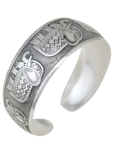 Elephant Carving Cuff Bracelet - SILVER  Mobile