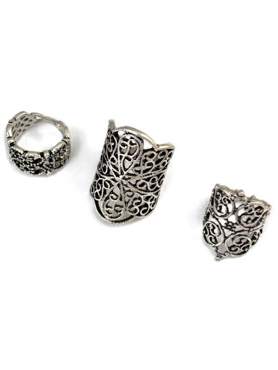 Hollow Out Ring Set - SILVER  Mobile