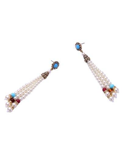 Fake Pearl Beaded Earrings - WHITE  Mobile