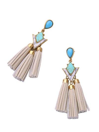 PU Leather Turquoise Geometric Tassel Earrings - WHITE  Mobile