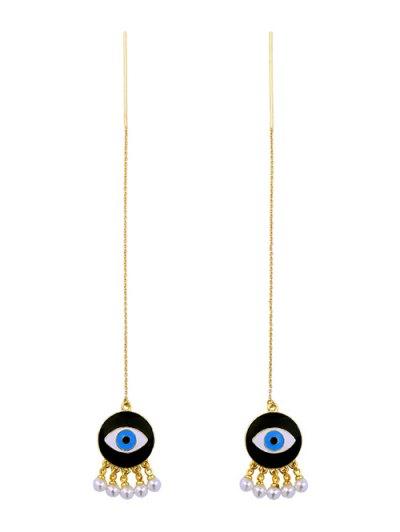 Faux Pearl Eye Earrings - GOLDEN  Mobile