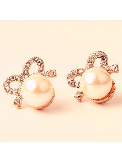 Artificial Pearl Rhinestone Bows Earrings - GOLDEN  Mobile