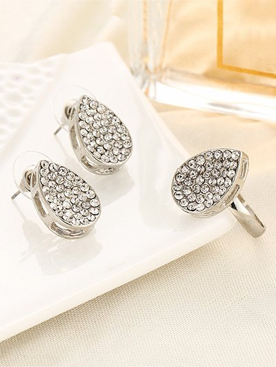 Rhinestoned Teardrop Earrings and Ring - SILVER ONE-SIZE Mobile