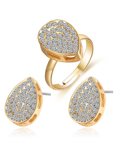 Rhinestoned Teardrop Earrings and Ring - GOLDEN ONE-SIZE Mobile