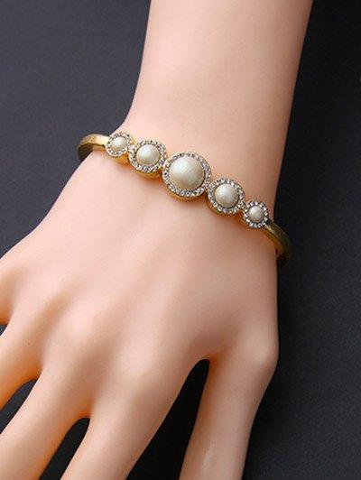 Artificial Pearl Rhinestone Bracelet - GOLDEN  Mobile