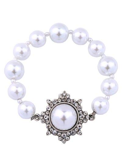 Artificial Pearl Vintage Beaded Bracelet - SILVER  Mobile