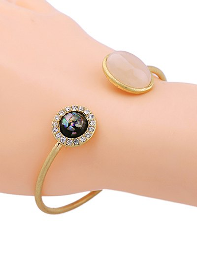 Artificial Gemstone Rhinestone Cuff Bracelet - GOLDEN  Mobile