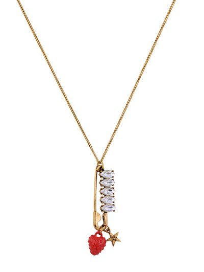 Rhinestone Strawberry Star Sweater Chain - GOLDEN  Mobile