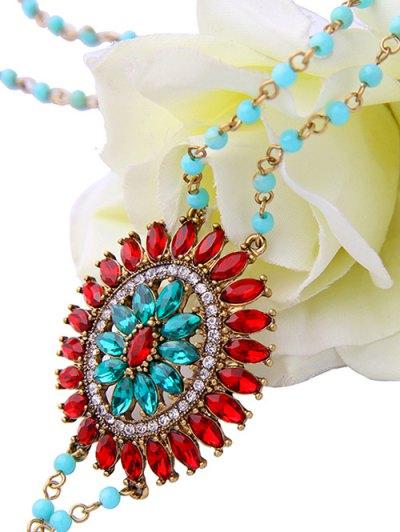 Bohemian Rhinestone Beaded Flower Sweater Chain - RED  Mobile