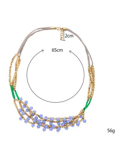 Bohemian Beaded Braid Necklace - COLORMIX  Mobile