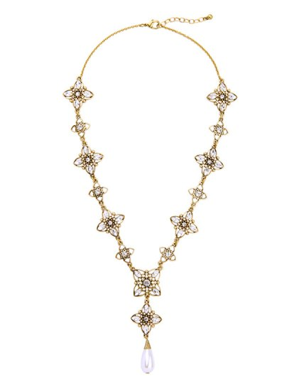 Artificial Pearl Rhinestone Flower Necklace - GOLDEN  Mobile