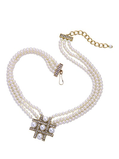 Multilayered Faux Pearl Beaded Necklace - WHITE  Mobile