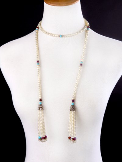 Rhinestone Faux Pearl Beaded Necklace - WHITE  Mobile