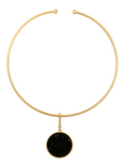 Circle Natural Stone Necklace - BLACK  Mobile