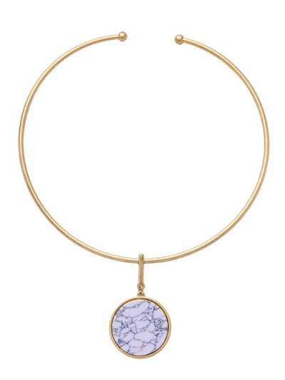 Circle Natural Stone Necklace - WHITE  Mobile