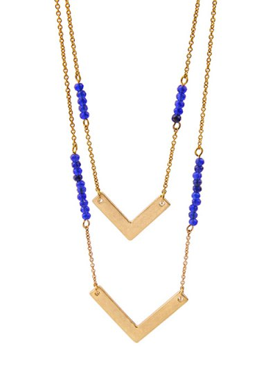 Layered V-Shaped Beads Necklace - GOLDEN  Mobile