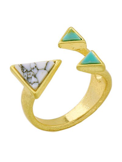 Artificial Turquoise Triangle Ring - GOLDEN ONE-SIZE Mobile
