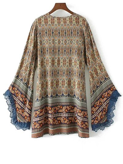 Bell Sleeve Lace Trim Boho Print Dress - COLORMIX M Mobile