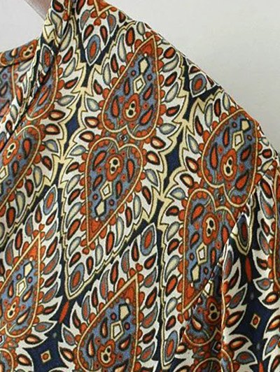 Bell Sleeve Lace Trim Boho Print Dress - COLORMIX S Mobile