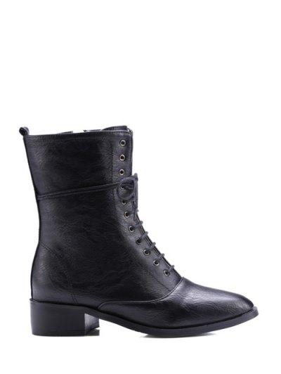 Chunky Heel Zipper Square Toe Short Boots - BLACK 37 Mobile