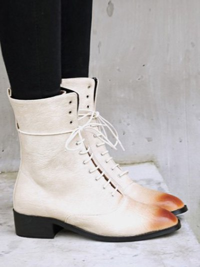 Chunky Heel Zipper Square Toe Short Boots - OFF-WHITE 37 Mobile