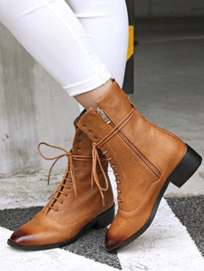 Chunky Heel Zipper Square Toe Short Boots - BROWN 39 Mobile