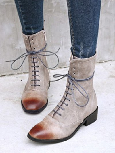 Chunky Heel Zipper Square Toe Short Boots - GRAY 39 Mobile