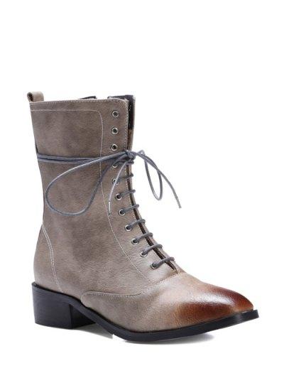 Chunky Heel Zipper Square Toe Short Boots - GRAY 37 Mobile