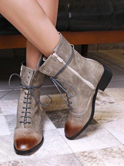 Chunky Heel Zipper Square Toe Short Boots - GRAY 38 Mobile