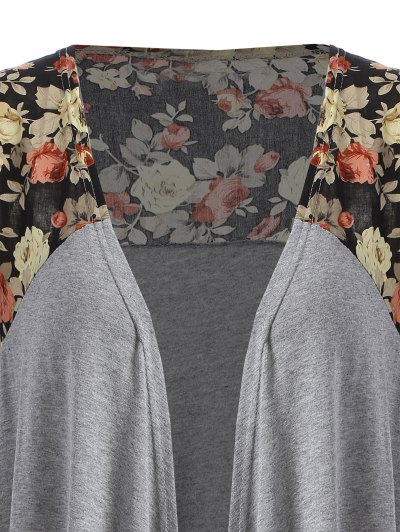 Floral Print Duster Coat - GRAY M Mobile
