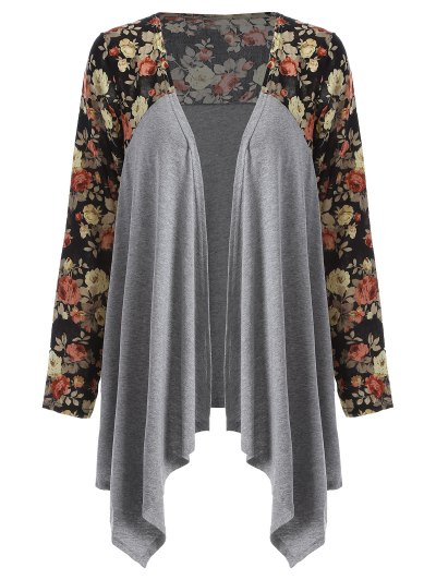 Floral Print Duster Coat - GRAY S Mobile