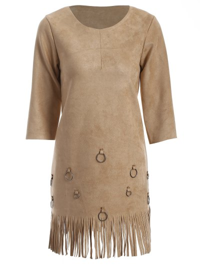 Tassels A-Line Dress - CAMEL L Mobile