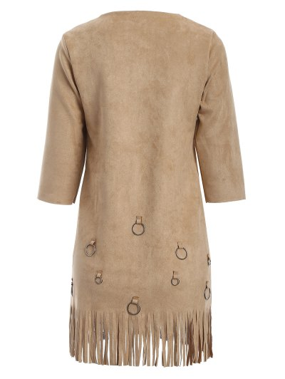 Tassels A-Line Dress - CAMEL M Mobile